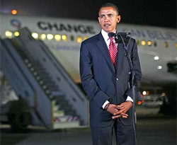 Obama speaking to the media after arriving in Ben Gurion airport 22 July 2008 - AP Photo published by Haaretz
