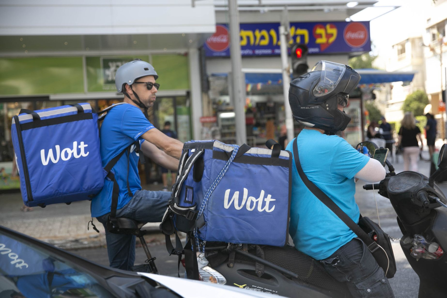 Wolt couriers in Tel Aviv.